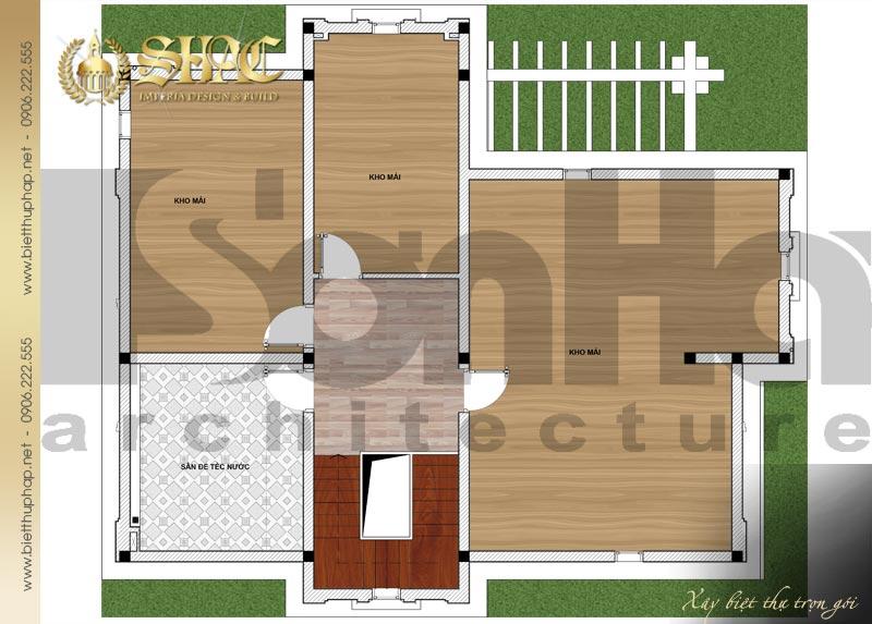 6 Mặt bằng công năng tầng áp mái biệt thự pháp đẹp tại lạng sơn sh btp 0035