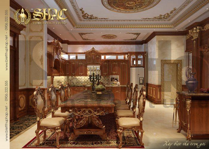 Mẫu phòng bếp ăn biệt thự có nội thất cổ điển với thiết kế tinh xảo, đẹp mắt