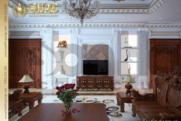 6 Mẫu nội thất phòng khách biệt thự lâu đài kiểu pháp tại An Giang SH BTLD 0031