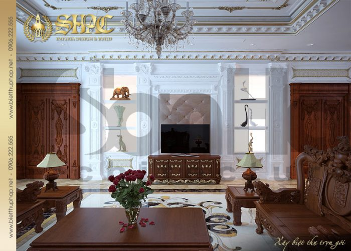Căn phòng khách biệt thự cổ điển với nội thất gỗ thiết kế tinh xảo