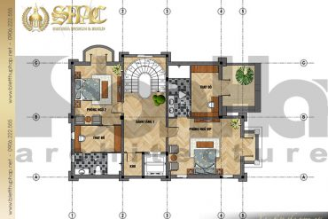 6 Mẫu thiết kế mặt bằng công năng biệt tầng 3 thự lâu đài pháp tại Sài Gòn SH BTLD 0028