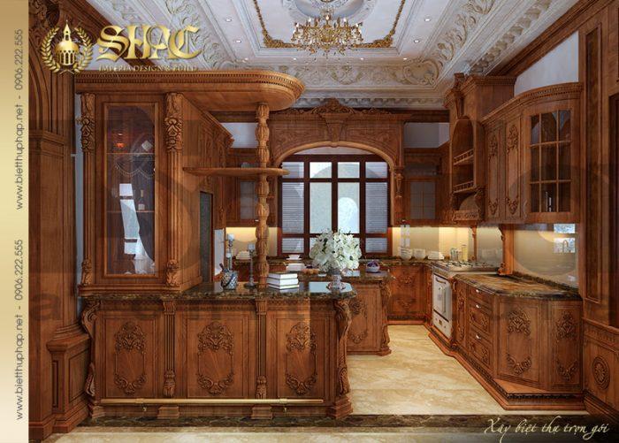 Không gian phòng bếp ăn cổ điển và vô cùng tiện nghi