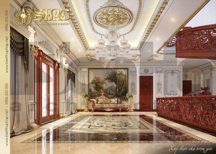 Biệt thự lâu đài được dành diện tích lớn để thiết kế sảnh sang trọng hạ gục mọi ánh nhìn
