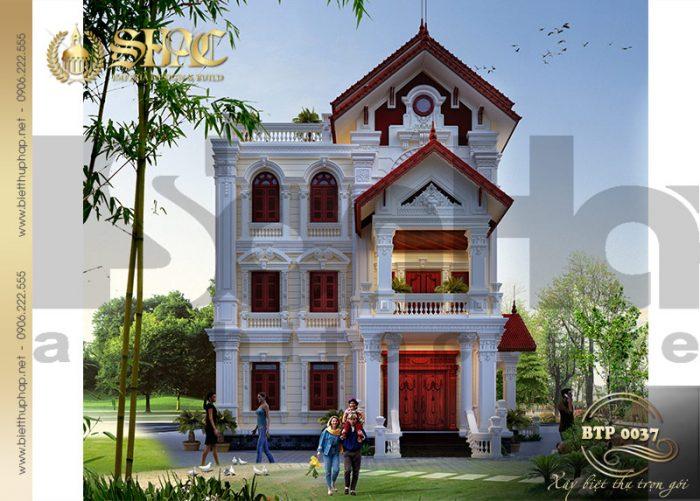 Cận cảnh kiến trúc mặt tiền chính ngôi biệt thự pháp 2 mặt tiền tại Hưng yên