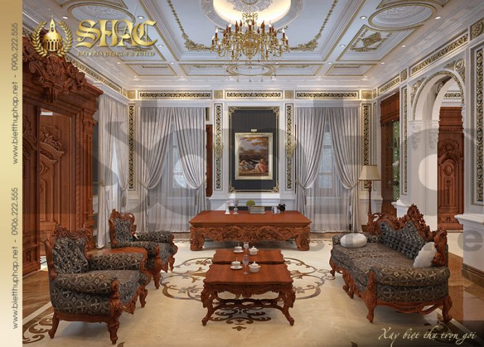 Mẫu thiết kế phòng khách với nội thất cổ điển đẹp của biệt thự pháp 3 tầng