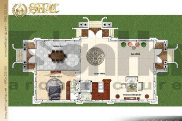 7 Bản vẽ công năng tầng 1 biệt thự kiểu Pháp 2 mặt tiền đẹp tại Hưng Yên SH BTP 0037