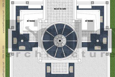 7 Bản vẽ mặt bằng công năng tầng mái biệt thự lâu đài SH BTLD 0036 tại Hải Dương
