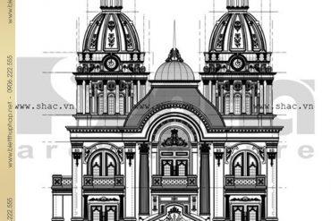 7 Bản vẽ mặt đứng thiết kế biệt thự lâu đài đẹp tại Nam Định SH BTLD 0023