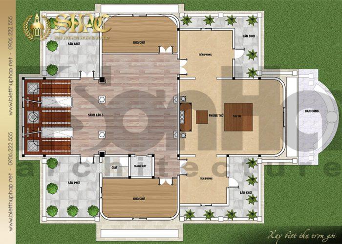Giải pháp bố trí công năng tầng 3 biệt thự lâu đài Pháp 4 tầng tại Sài Gòn