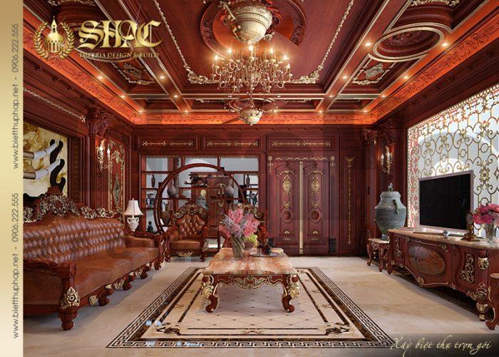 Không gian phòng khách ấn tượng với nội thất gỗ được chạm khắc tinh xảo