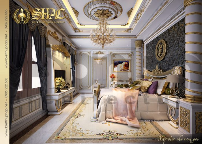Thực sự như đang bước vào chốn cung điện khi chiêm ngưỡng căn phòng ngủ xa hoa này của biệt thự lâu đài. Màu sắc trang trí và nội thất được lựa chọn đều vô cùng đẳng cấp
