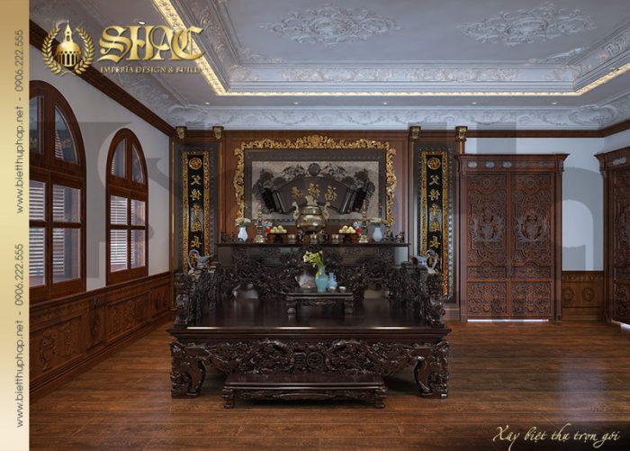 Mẫu thiết kế nội thất phòng thờ tôn nghiêm trong không gian nội thất biệt thự cổ điển tại Hà Nội