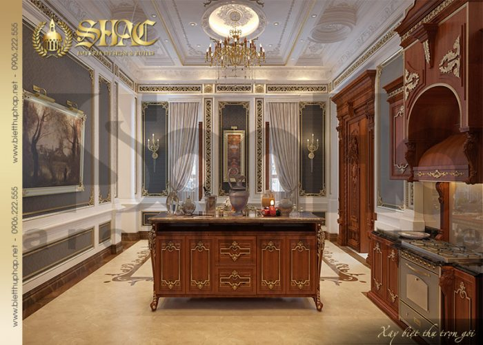 Không gian nội thất phòng bếp được thiết kế với vật liệu gỗ cao cấp