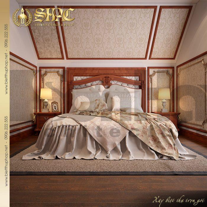 Thêm một mẫu phòng ngủ được thiết kế nội thất đơn giản cho biệt thự lâu đài cổ điển