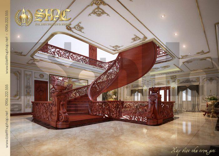 Phương án thiết kế nội thất sảnh trang ngôi biệt thự lâu đài được chủ đầu tư đánh giá cao