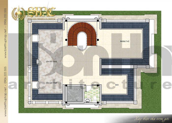 Bản vẽ chi tiết mặt bằng quy hoạch công năng tầng áp mái biệt thự lâu đài pháp 4 tầng tại Sài Gòn