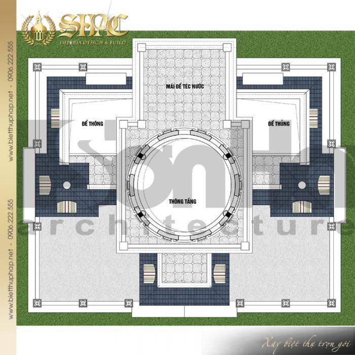 Chi tiết mặt bằng công năng tầng tum biệt thự lâu đài cổ điển tại Hải Dương