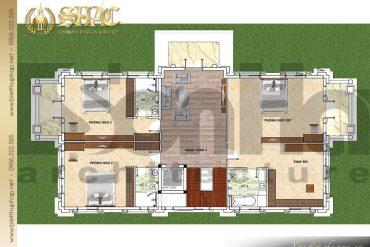 8 Mặt bằng công năng tầng 2 biệt thự kiểu Pháp 2 mặt tiền tại Hưng Yên SH BTP 0037