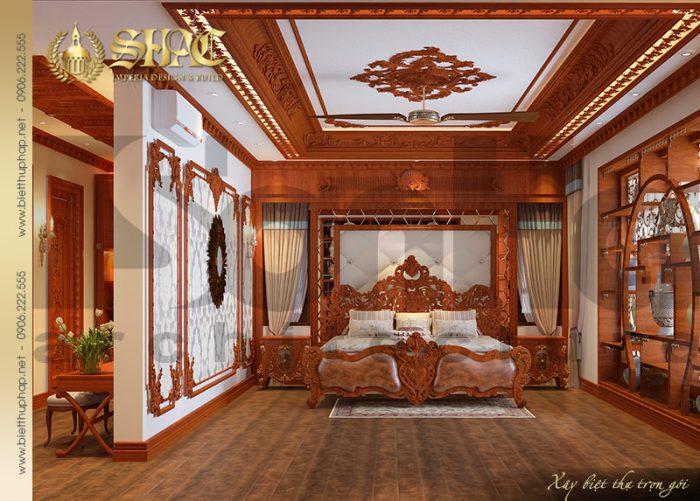 Mẫu thiết kế nội thất phòng ngủ sang trọng và ấm cúng với vật liệu gỗ tự nhiên
