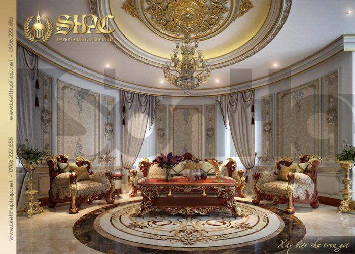 Mẫu thiết kế phòng sinh hoạt chung với nội thất cổ điển đậm chất hoàng gia
