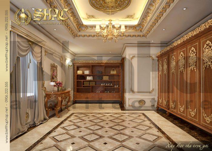 Thiết kế nội thất phòng thay đồ biệt thự kiểu lâu đài 3 tầng tại Quảng Ninh