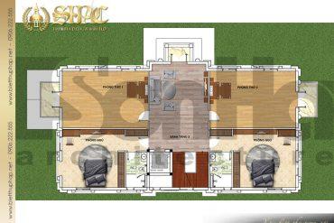 9 Bản vẽ công năng tầng 3 biệt thự Pháp có sân vườn đẹp tại Hưng Yên SH BTP 0037