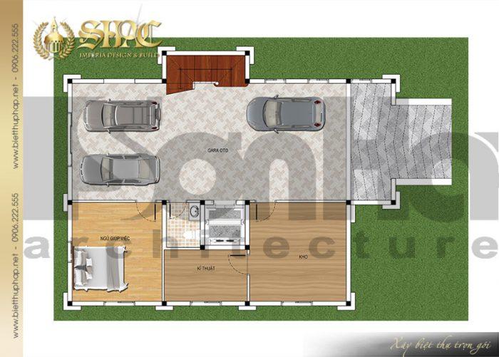 Bản vẽ chi tiết mặt bằng quy hoạch công năng tầng hầm biệt thự lâu đài pháp 4 tầng tại Sài Gòn