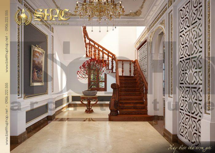 Phương án thiết kế sảnh thang biệt thự cổ điển pháp 3 tầng được chủ đầu tư đánh giá cao