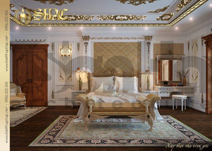 Không gian phòng ngủ với nội thất cổ điển châu Âu sang trọng của biệt thự lâu đài 3 tầng tại Quảng Ninh
