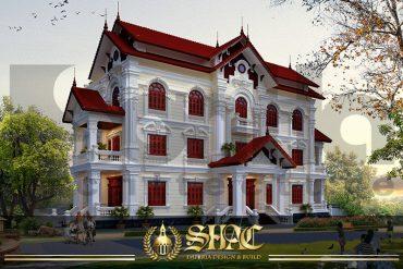 BÌA Kiến trúc biệt thự Pháp 3 tầng 2 mặt tiền đẹp tại Hưng Yên SH BTP 0037