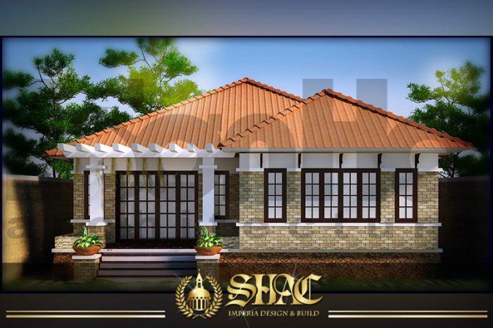 BIA Mẫu thiết kế biệt thự mái thái 1 tầng tân cổ điển tại Quảng Ninh SH BTCD 0039