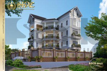 1 Thiết kế biệt thự hình chữ l kiến trúc tân cổ điển tại hải phòng sh btp 0123