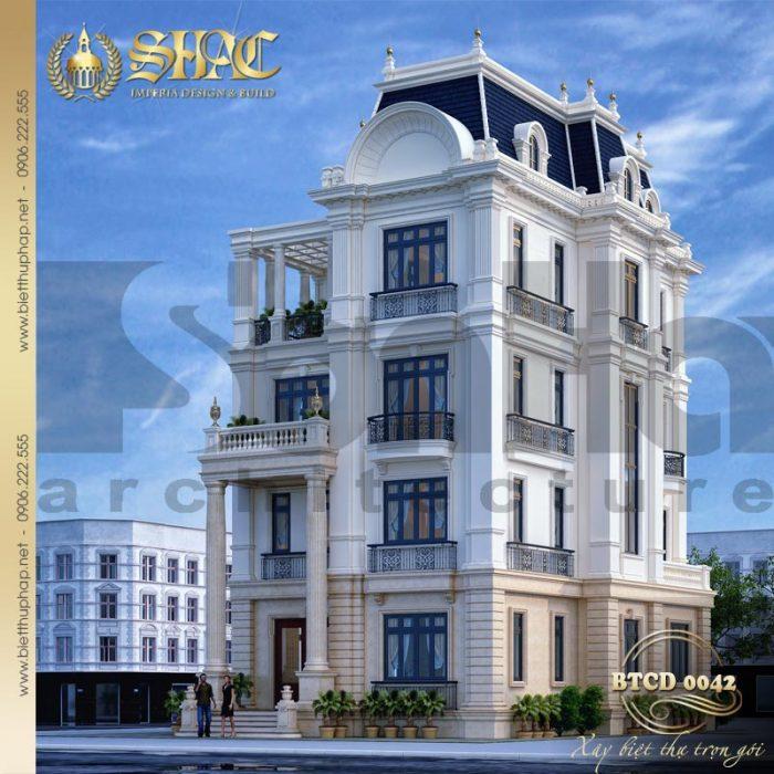 Mẫu biệt thự tân cổ điển 4 tầng mặt tiền 12m12 sang trọng, đẳng cấp tại Đà Nẵng