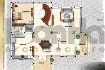 3 Mặt bằng công năng tầng 1 biệt thự tân cổ điển tại đà nẵng sh btcd 0042