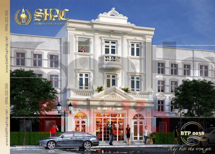 Mẫu biệt thự kiểu Pháp 3 tầng kết hợp kinh doanh mặt tiền 9m tại Quảng Ninh
