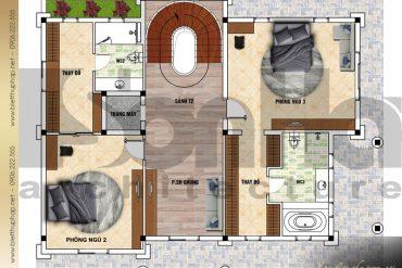 4 Mặt bằng công năng tầng 2 biệt thự tân cổ điển tại đà nẵng sh btcd 0042