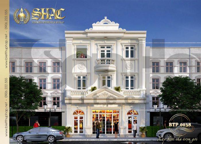 Ngôi biệt thự pháp tại Quảng Ninh được thiết kế 3 tầng với gam màu trắng tinh tế
