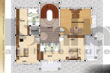 5 Mặt bằng công năng tầng 3 biệt thự tân cổ điển tại đà nẵng sh btcd 0042