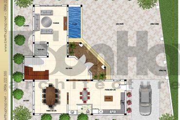 6 Mặt bằng công năng tầng 1 biệt thự hình chữ l tại hải phòng sh btp 0123