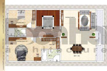 6 Mặt bằng công năng tầng 2 biệt thự cổ điển mặt tiền 9m tại quảng ninh sh btp 0039