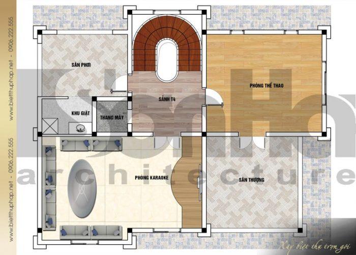 Chi tiết mặt bằng công năng tầng 4 biệt thự tân cổ điển 2 mặt tiền tại Đà Nẵng