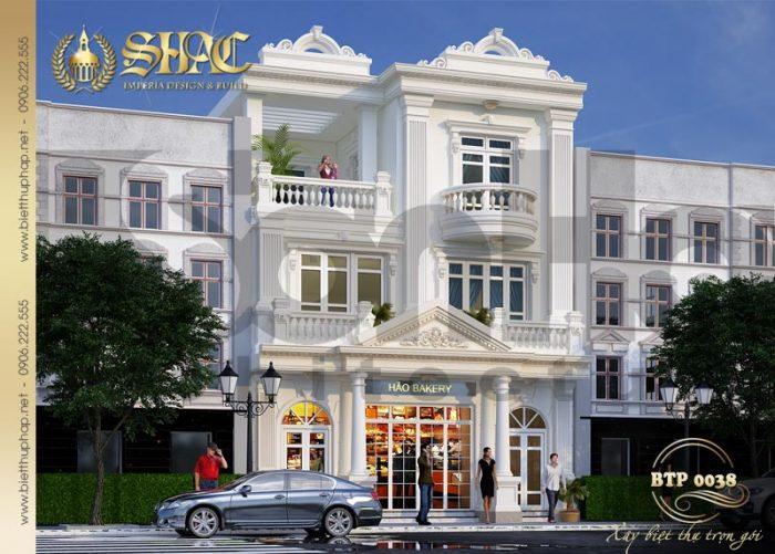 Phương án thiết kế kiến trúc biệt thự pháp 3 tầng với phào chỉ nhẹ nhàng, duyên dáng