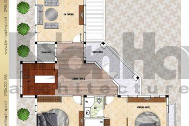 7 Mặt bằng công năng tầng 2 biệt thự sân vườn đẹp tại hải phòng sh btp 0123
