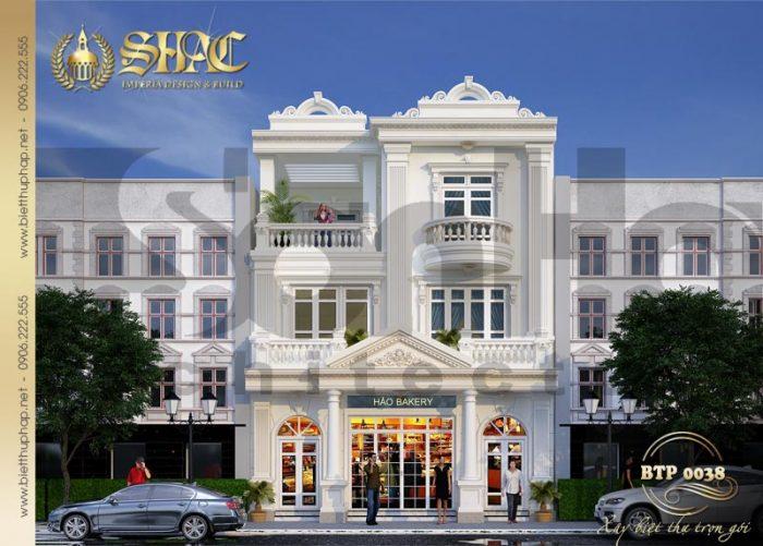 Kiến trúc mặt tiền biệt thự 3 tầng kiểu pháp được chủ đầu tư đáng giá cao