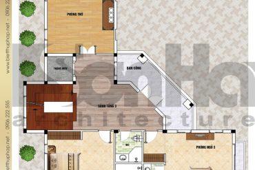 8 Mặt bằng công năng tầng 3 biệt thự mái dốc đẹp tại hải phòng sh btp 0123