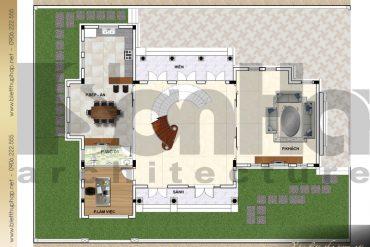 9 Mặt bằng công năng tầng 1 biệt thự 3 tầng đẹp khu đô thị vinhomes hải phòng sh btcd 0043