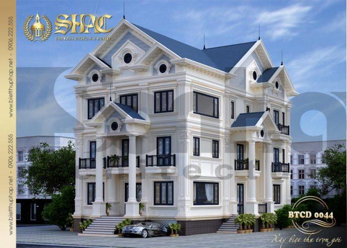 Mẫu thiết kế biệt thự tân cổ điển 2 mặt tiền quy mô 3 tầng tại Quảng Ninh