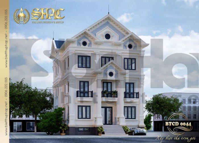 Kiến trúc biệt thự tân cổ điển 3 tầng thiết kế 2 mặt tiền nổi bật và ấn tượng tại Quảng Ninh
