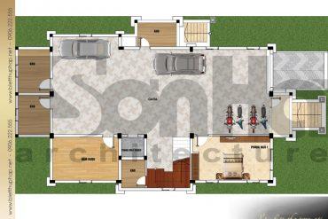 3 Mặt bằng công năng tầng hầm biệt thự mái thái 3 tầng tại quảng ninh sh btcd 0044