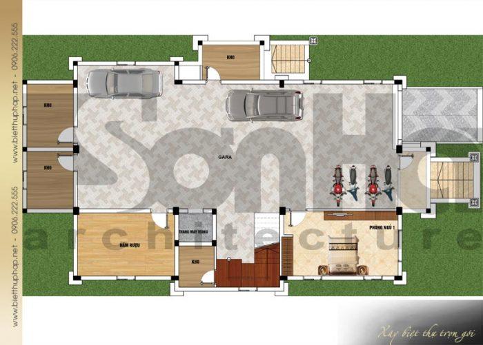 Bản vẽ mặt bằng công năng tầng hầm biệt thự tân cổ điển mái thái 3 tầng tại Quảng Ninh